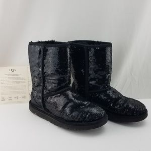 Classic UGG Black Sequin Boots Size 6